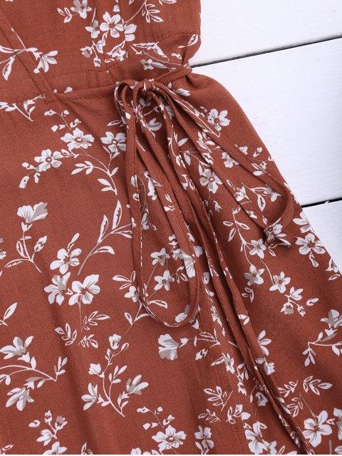 ladies Floral Print Self Tie Wrap Dress - FLORAL L Mobile