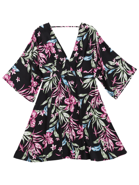 women Ralgan Sleeve Floral Cut Out Surplice Dress - FLORAL XL Mobile