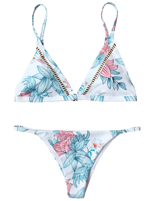 sale Padded Cami Floral Thong Bathing Suit - WHITE L Mobile
