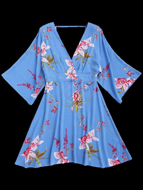 sale Ralgan Sleeve Floral Surplice A-Line Dress - FLORAL XL Mobile