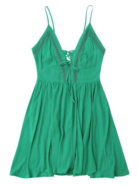 best Plunge Low Back Lace Up Sundress - GREEN S Mobile