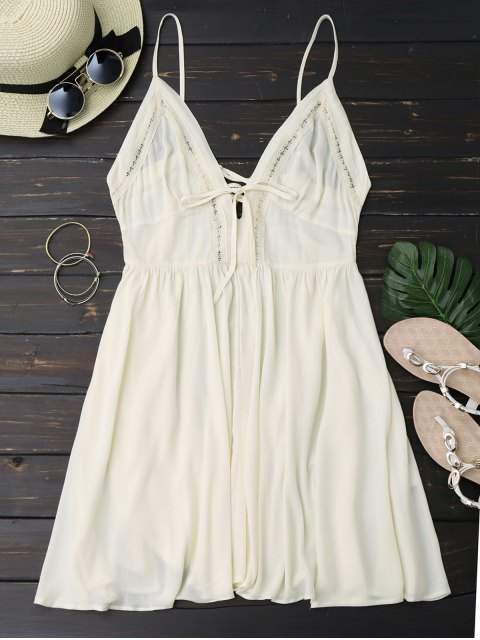 outfits Plunge Low Back Lace Up Sundress - PALOMINO L Mobile