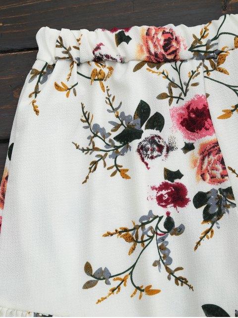 unique Floral Print Ruffled Cami Two Piece Set - FLORAL M Mobile