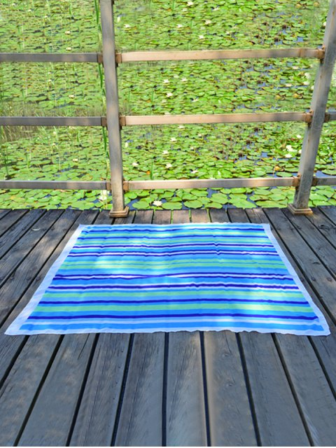 ladies Rectangle Chiffon Striped Beach Throw - LAKE BLUE  Mobile