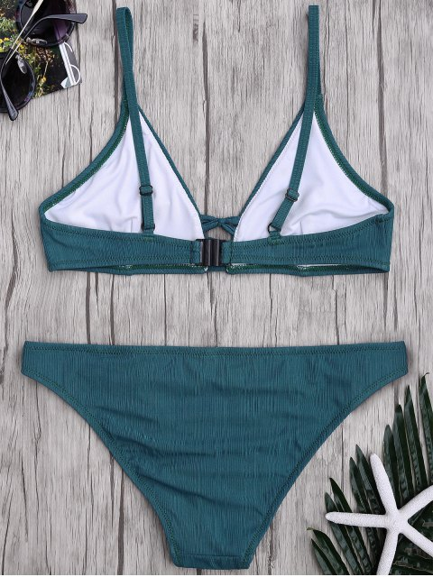 fancy Criss Cross Spaghetti Strap Texture Bikini Set - HUNTER XL Mobile