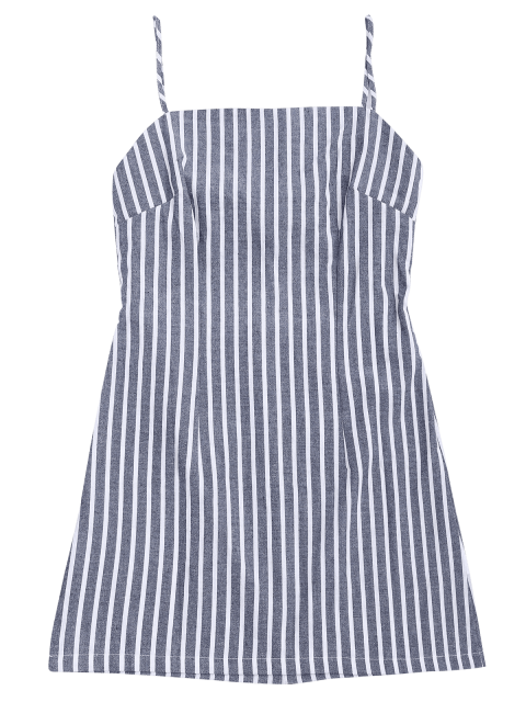shop Self Tie Striped Cami Shift Dress - STRIPE S Mobile