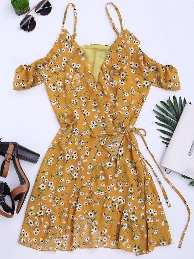 Floral Print Ruffles Cami Wrap Dress - Floral S