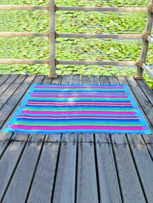 Floral Printed Rectangle Chiffon Striped Beach Throw - Azure