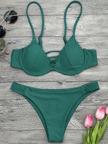 Lattice Padded Underwire Bikini Set