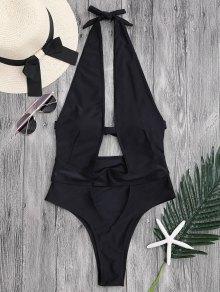 Cut Out High Leg Plunging Neck Monokini - Black L