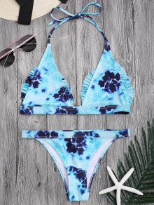 Bralette Tie-Dyed Ruffles Bathing Suit