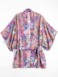 Belted Chiffon Floral Kimono Blouse - Floral