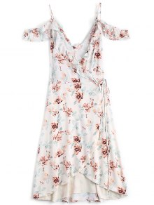 Floral Cold Shoulder Asymmetrical Wrap Dress