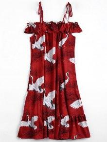 Gris Gráfico Ruffles Frío Vestido De Hombro - Rojo M