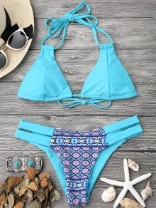 Printed Halter Padded Bikini Top and Bottoms