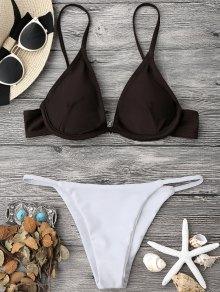 Color Block V String Underwire Bikini Set - White And Coffee S