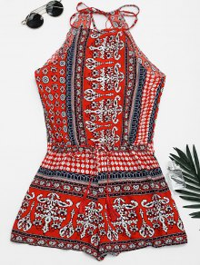 Tribal Print Cut Out Cami Romper