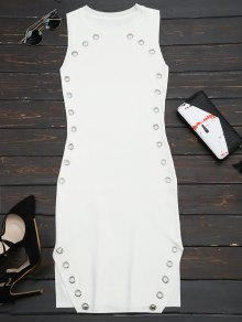 Ring Embellished Slit Bodycon Knit Dress