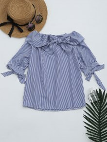 Bowknot Off The Shoulder Striped Blouse