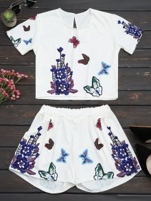 Butterfly Floral Print Top And Shorts Set - White S