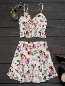 Floral Print Ruffles Cami Top and Shorts