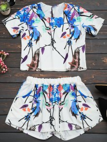 Printed Top and High Waist Shorts Set