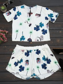 Printed Top with High Waist Shorts Set