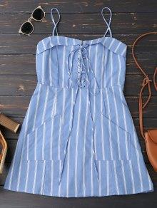 Las rayas traseras Zipper Lace Up Mini Dress