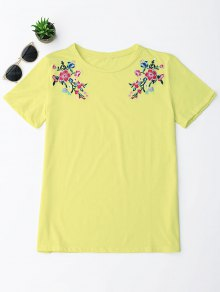 Cotton Floral Embroidery T-Shirt