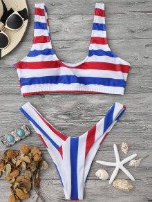 Padded Striped High Cut Scoop Bikini Set