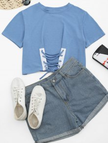Round Collar Lace Up Tee - Light Blue Xl