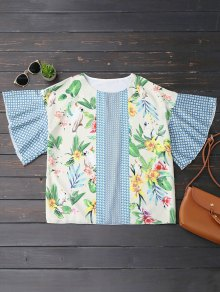 Oversized Ruffled Sleeve Graphic Top