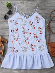 Ruffles Longline Floral Embroidered Tank Top - Stripe L