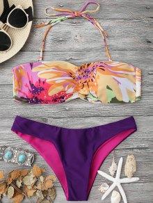 Padded Watercolor Bandeau Bikini Set