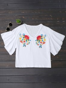 Ruffles Floral Embroidered Cotton Top