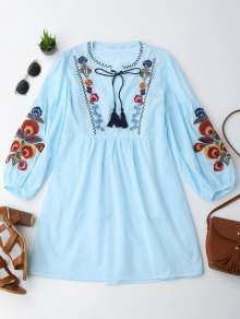 Long Sleeve Floral Embroidered Tunic Dress with Cami Tank Top