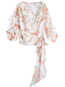 Floral Draped Sleeve Wrap Top - Floral S
