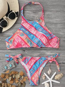 High Neck Bikini Top And Tieside Bottoms - Multicolor L