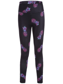 High Waisted Pineapple Print Gym Yoga Leggings