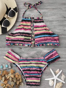 Ladder Cutout Striped High Neck Bikini Set