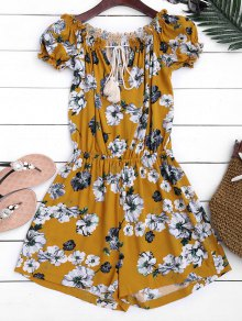 Floral Ruffles Off Shoulder Romper