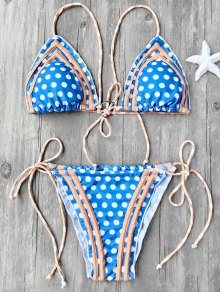 Polka Dot Self Tie String Bikini Set - Blue L