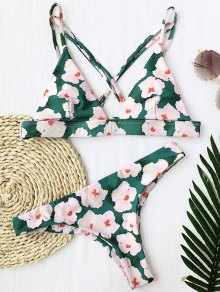 Floral Padded Cross Back Bikini - Floral S