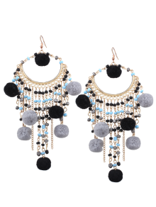 Fuzzy Ball Beaded Finged Tassel Earrings - Black