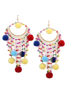 Fuzzy Ball Beaded Finged Tassel Earrings