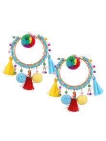 Fuzzy Ball Beaded Tassel Hoop Earrings