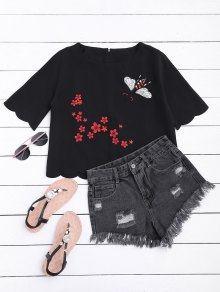 Floral Embroidered Scalloped Hem Tee