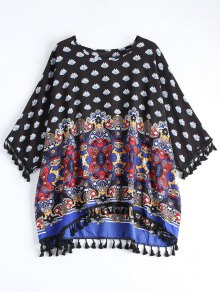Dolman Sleeve Tribal Print Tassels Blouse - Multi