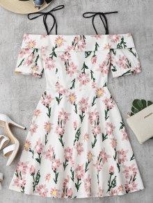 فستان طباعة الأزهار كشكش الحاشية كامي - الأزهار S