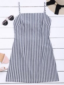 Self Tie Striped Cami Shift Dress